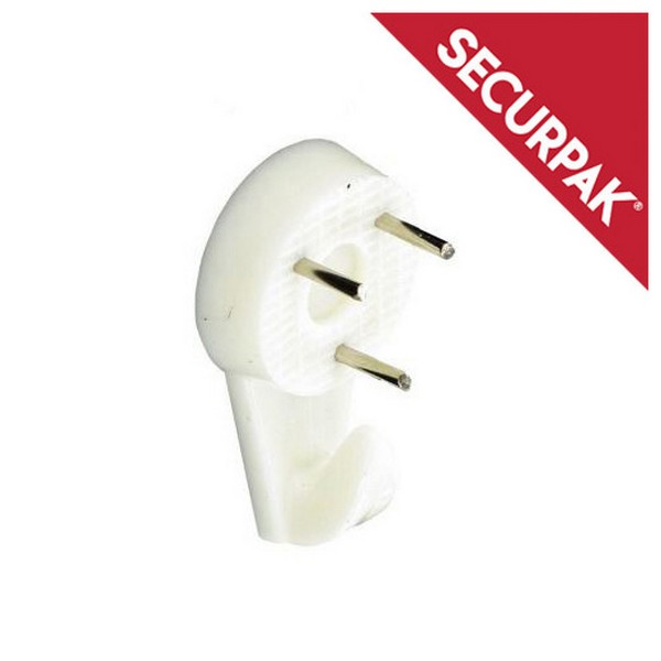 SecurPak SP10078 - Bag/10 Hard Wall Picture Hook  White 32mm (4)