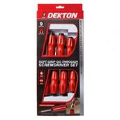 DEKDT65525 - Dekton DT65525 Go Through Screwdriver Set Soft Grip 6pc