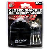 DEKDT71085 - Dekton DT71085 60mm Closed Shackle High Security Padlock