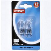 Eveready S815 G9 Clear Capsule Halogen Bulbs 25W Pack-2