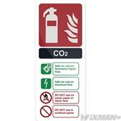Fixman (319626) CO2 EN3 Fire Extinguisher Sign 202 x 82mm Self-Adhesive