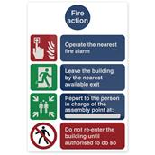 Fixman (405443) Fire Action Operate The Nearest Sign 200 x 300mm Self-Adhesive