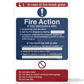 Fixman (726492) Fire Action In Case of Fire Sign 200 x 300mm Rigid