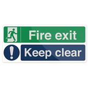 Fixman (754376) Fire Exit Keep Clear Sign 450 x 200mm Self-Adhesive
