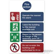 Fixman (874307) Fire Action Operate The Nearest Sign 200 x 300mm PL
